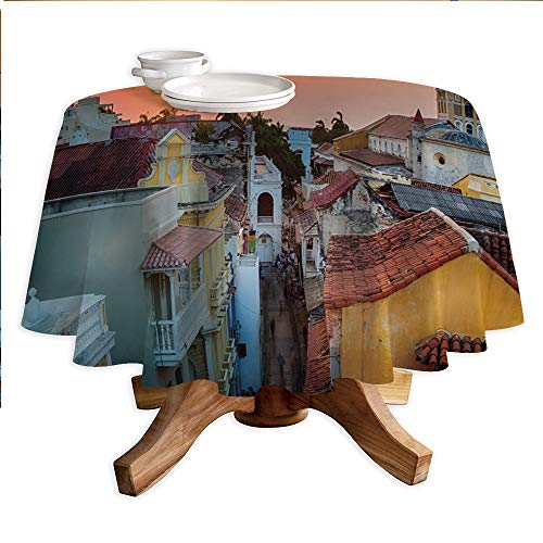 - Sunset Round Polyester Tablecloth,View Over The Rooftops of The Old City Cartagena Cathedral Colombian Coast Picture Decorative,Dining Room Kitchen Round Table Cover,60