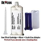 Devcon Plastic Welder White DA291 - High-Strength Toughened MMA Adhesive - 50ml/1.7oz Caulk Gun Adapter Kit