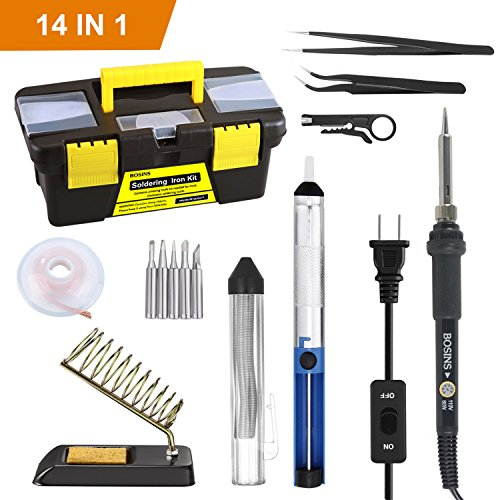 - Soldering Iron Kit, 60W Adjustable Temperature Solder Kit with On/Off Switch, 5pcs Soldering Tips, Solder Sucker, Solder Wire, Solder Wick, Wire Stripper Cutter, 2pcs Anti-static Tweezers, Stand wit