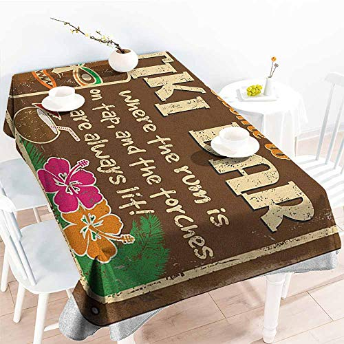 EwaskyOnline Spill-Proof Table Cover,Tiki Bar Aged Old Frame Sign of Tiki Bar with Inspirational Quote Leisure Travel Print,Dinner Picnic Table Cloth Home Decoration,W60X102L, Multicolor]()