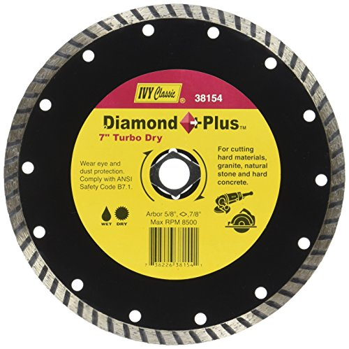 IVY Classic 38154 Diamond Plus 7-Inch Dry and Wet Cutting Turbo Continuous Rim Diamond Blade with 7/8 - 5/8-Inch Diamond Arbor, 1/Card