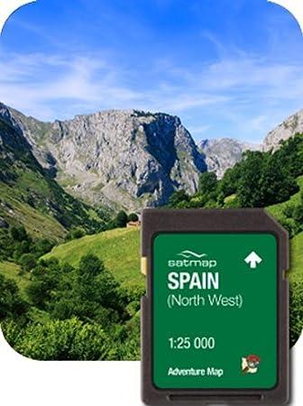 Satmap – Tarjeta con mapas del Norte occidental España aventura mapa (1: 25 K): Amazon.es: Deportes y aire libre