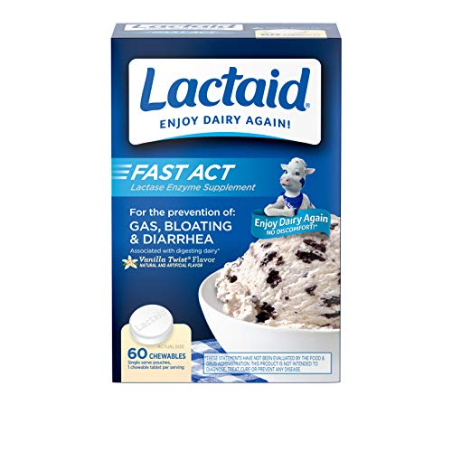 Lactaid Fast Act Lactose Intolerance Relief Chewables with Lactase Enzyme to Prevent Gas, Bloating & Diarrhea Due to Lactose Sensitivity, Ideal for Travel & On-the-Go, Vanilla Twist, 60 Packs of 1-ct. (Best Over The Counter Acne Medication)