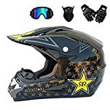 MRDEER Professional Motorcycle Helmet Set Road Race Off Road Helmet Unisex Adult Full Face Helmet with Goggles, Gloves, Mask,(S, M, L, XL) Size,Brightblack,M