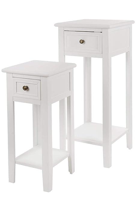 Elbmobel Telefontisch 2 Set Tisch Beistelltisch Weiss Aus Holz Im