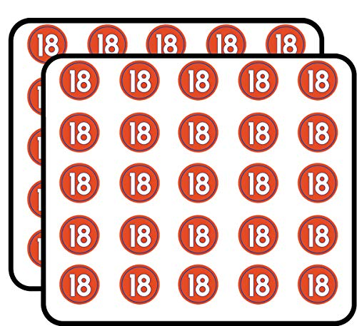 (Round #18 Peyton Manning Denver Colors (Number 18 Broncos) Sticker for Scrapbooking, Calendars, Arts, Kids DIY Crafts, Album, Bullet Journals)