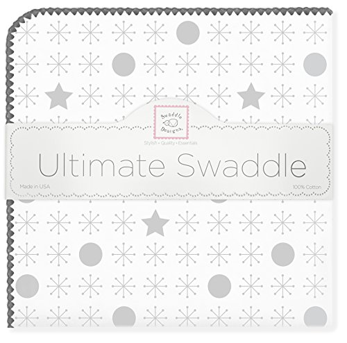 SwaddleDesigns Ultimate Swaddle, X-Large Receiving Blanket, Made in USA Premium Cotton Flannel, Sterling Jax and Stars (Moms Choice Award Winner)