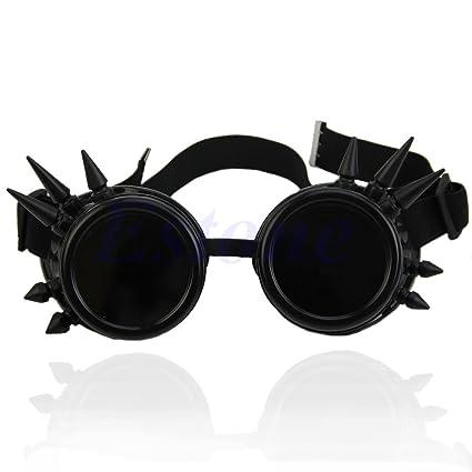 Lamdoo Vintage Victorian Gótico Cosplay Remache Steampunk Gafas de soldar Punk, Negro, Lens Diameter