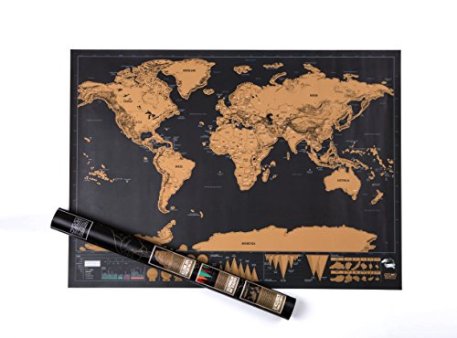 Scratch off Travel Map World Wall Map Poster with Country Flags Record and Share Your Adventures - Scratch off Travel Journal World Travel Tracker Map Deluxe Black Gold by YYVIGO (Black gold) Photo #5