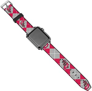 Leather Apple Watch Band O-HIO State Buckeyes Silicone Compatible with iWatch Series 5 4 3 2 1 Cartoon Design Strap 42mm/44mm