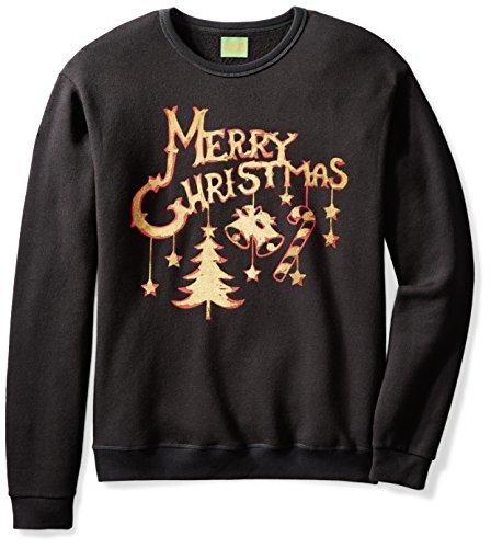 Fair Isle Crewneck Sweater - Ugly Fair Isle Unisex Jingle Bells Crewneck Christmas Sweater Small Black