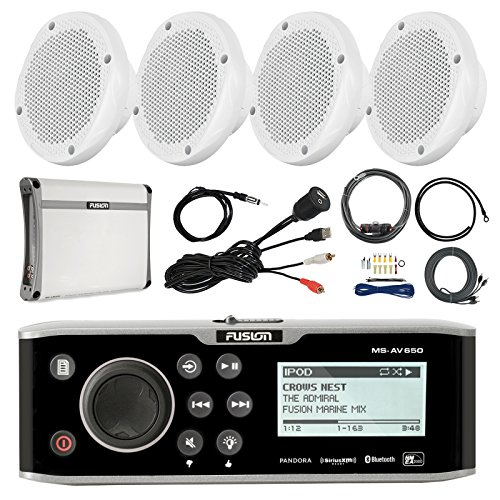 Fusion 650 Series CD Bluetooth Marine Receiver, 4X 6.5 2-Way 200W Speaker, Amplifier, T-spec Amp Install Kit with RCA Cables, Antenna, Universal USB Auxiliary Mount