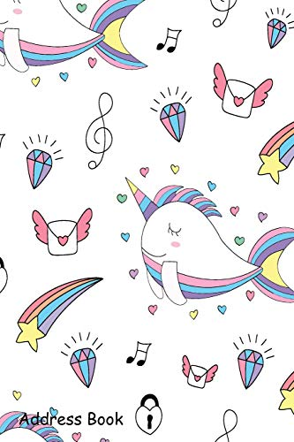 Address Book: For Contacts, Addresses, Phone, Email, Note,Emergency Contacts,Alphabetical Index With Cute Unicorn Cartoon Hand Drawn Shamrock Logbook