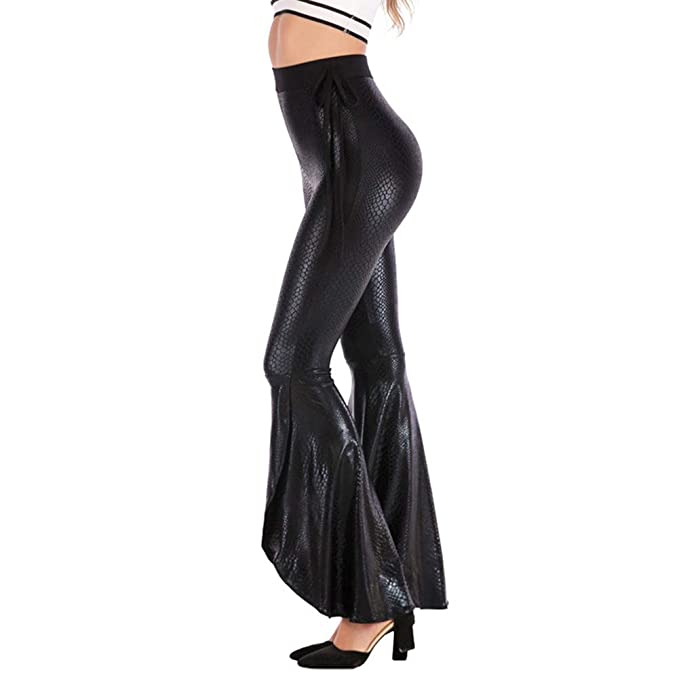 a9dc0cd4f3 GUOLEZEEV Womens Elastic Waist Slit Flounce Flared Bottom Wide Leg Pants(5  Colors) at Amazon Women's Clothing store: