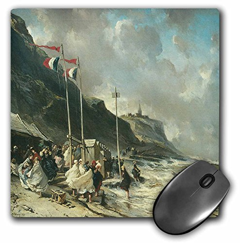 (3dRose BLN Sailing Ships and Seascapes Fine Art Collection - The Beach at Granville by Eugene Isabey - MousePad (mp_126794_1))