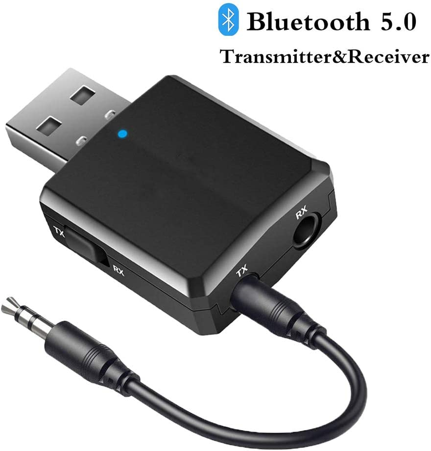 Joypro Portable Bluetooth 5.0 Transmitter and Receiver, 3-in-1 Wireless 3.5mm Adapter for TV PC Headphones Speakers Home/Car Stereo Sound System