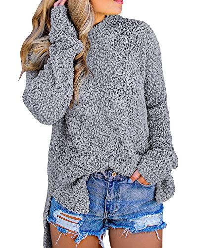 Imily Bela Womens Fuzzy Chunky Sweater Sherpa Fleece Side Slit Full Sleeve Pullover Sweaters Grey