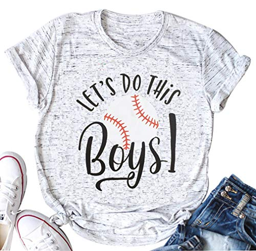Soccer Mom T-shirt Tee - DUDUVIE Women Let's Do This Boy Baseball Mom Tshirt Casual Letter Print Tops Tee(Small,White)