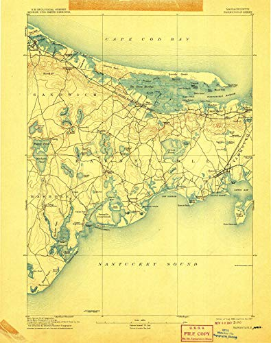 YellowMaps Barnstable MA topo map, 1:62500 Scale, 15 X 15 Minute, Historical, 1893, Updated 1907, 20 x 15.8 in - Paper