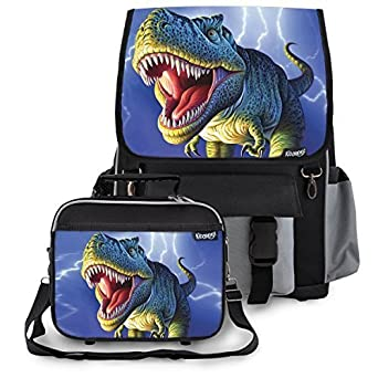 Amazon.com | Kidaroo Lightning Rex Dinosaur Backpack & Lunchbox ...