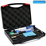 YOUSHARES Adjustable Temperature Soldering Iron Kit 8 in 1- including 60W 110V Soldering Gun / Pen, 5pcs Various Tips, 6pcs Assist Tools, Soldering Sucker, Tool Box, Solder Wire, Tweezer and Stand