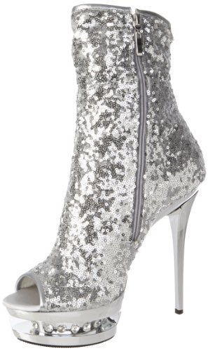 Pleaser Women's Blondie-R-1008 SSQ Ankle Boot,Silver Sequins/Silver Chrome,10 M US
