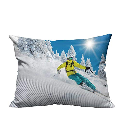 YouXianHome Pillow Case Cushion Cover Freeride in Powder Snow ski Printing Dyeing (Double-Sided Printing) 20x35.5 inch