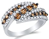chocolate diamond gold ring - Size 6.5 - 10K White Gold Chocolate Brown & White Round Diamond Fashion Ring - Channel Setting (1.05 cttw.)