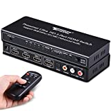 Tenak 3X1 HDMI Switch with Audio Extractor and Optical TOSLINK SPDIF + L/R and 3.5mm Headphone Stereo Audio Support ARC 4K 3D CEC HDMI Switch Box for PS4/ Roku/ Xbox One/ Blu-ray/ HDTV