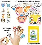 Zany Zoo Party Favor Pack (Safari Animal Puppets, Tattoos, Make-a-sticker sets, & 1 Super Secret Surprise Sack)
