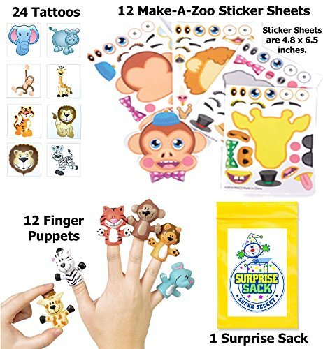 Zany Zoo Party Favor Pack (Safari Animal Puppets, Tattoos, Make-a-sticker sets, & 1 Super Secret Surprise Sack) by Super Secret Surprise Sack