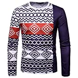 kaifongfu Long Sleeve Round Neck Top Men African 6D Print Sweatshirt Top(Navy,M)