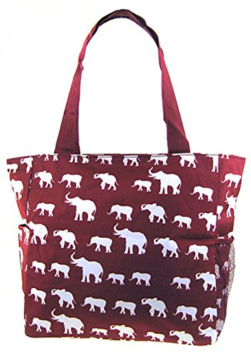 Elephant Print Tote Bag Purse (Burgundy Red)