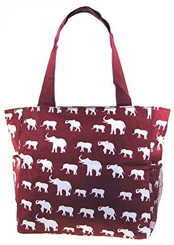 Elephant Print Tote Bag Purse (Burgundy - Alabama Elephant