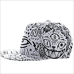 1ffecfe7fc3 Amazon.com  Sannysis Fashion Vintage Baseball Flat Bill Hat Hippie Eye  Hiphop Adjustable Cap (white) (0637632457317)  Books