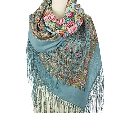 Pavlovo Posad Russian Shawl Pashmina Scarf Wrap Plus Size Wool 58x58'' by Pavlovo Posad 58x58''