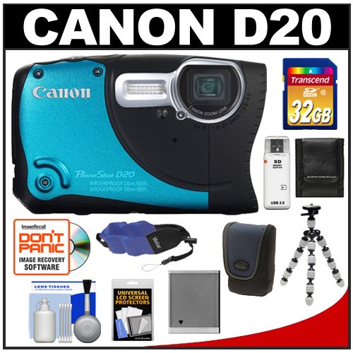 Canon PowerShot D20 Shock & Waterproof GPS Digital Camera with 32GB Card + Case + Battery + Tripod + Float Strap + Accessory Kit