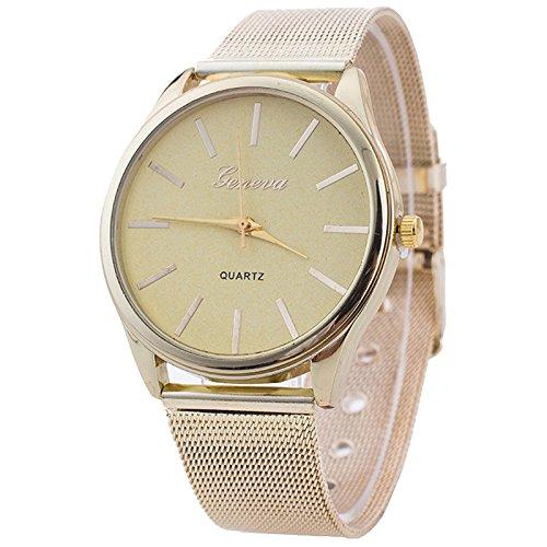 Reloj De Pulsera – Geneva Mujer Reloj De Pulsera, Mujeres Mujer Reloj Oro Red banda
