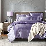 LOVE(TM)3Pcs Luxury Soft Silky Satin Duvet Cover Set Queen Size,Light Purple(1 Duvet Cover+2 Pillow Shams)(Comforter Not Included)