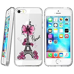 iPhone 5s 5 SE Case,iPhone 5s 5 SE Case for Women, YC Hongda Pink Eiffel Tower Pattern Clear Design for impact ?cases and accesories for iPhone 5s 5 SE