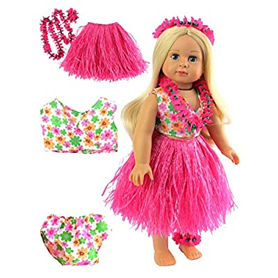 American Fashion World Cute 6 Piece Hawaiian Outfit fits 18 inch Doll: Toys & Games
