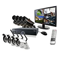 REVO America R165WB4EB4EM21-2T 16 CH 2 TB DVR Surveillance System with 4 Wireless Bullet Cameras, 4 Wired Bullet Cameras and Monitor (Black)