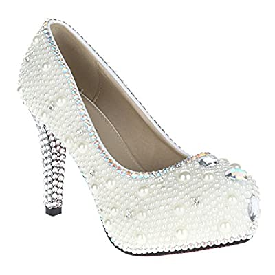 VELCANS Glitter Designer Pearl Wedding and Bridesmaid High Heel with Rhinestones Evening Shoes