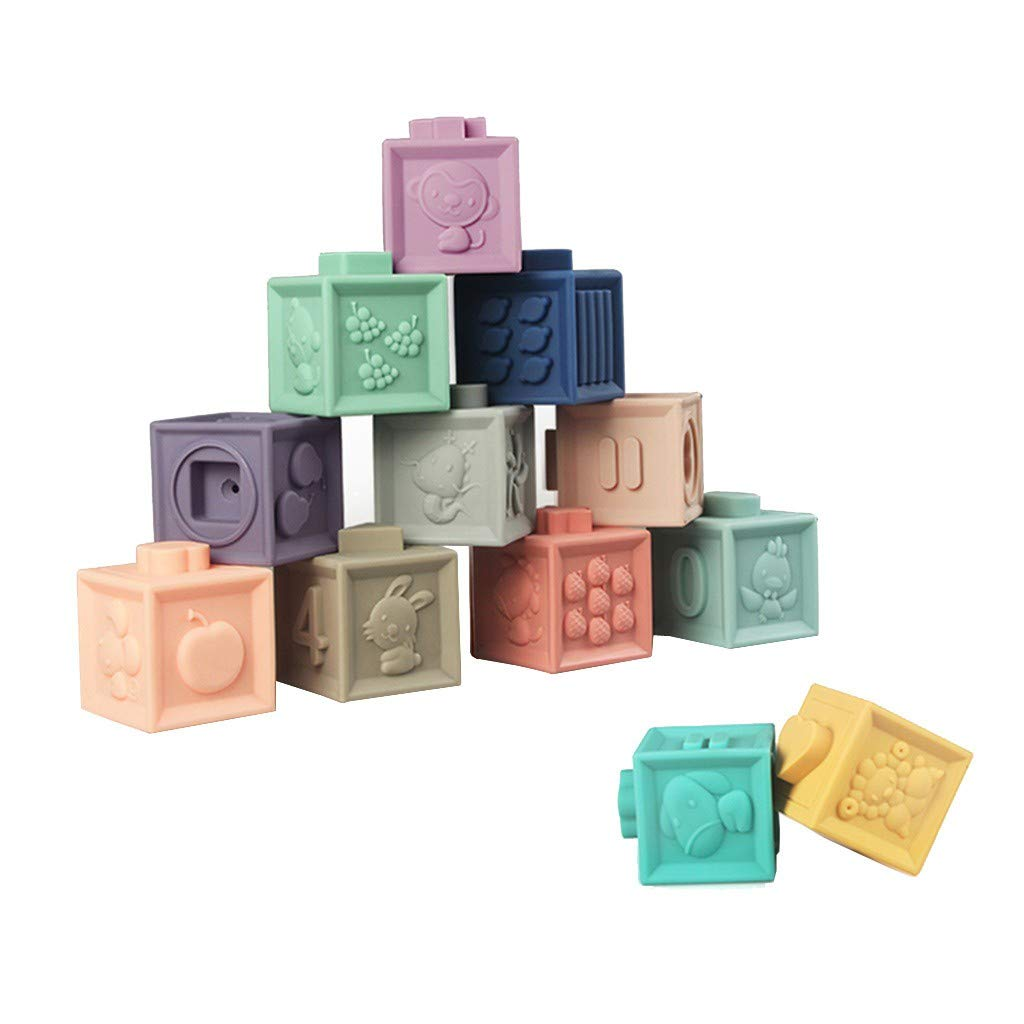 FGDJEE Building Blocks for Toddlers Educational Baby Toys with Numbers Shapes Animals Soft & Colorful Stacking Blocks by FGDJEE