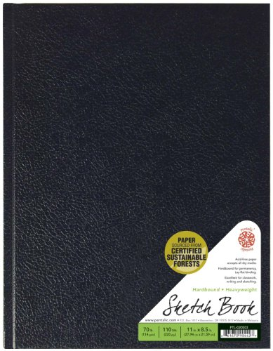 Pentalic Sketch Book, Hardbound, 8-1/2-Inch by 11-Inch
