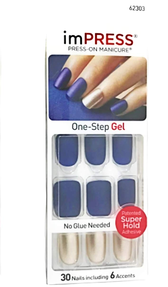 Kiss imPress Short Length Navy Blue Matte Nails 62303 Bells & Whistles by Broadway Press-On Manicure Nails by BROADWAY NAILS