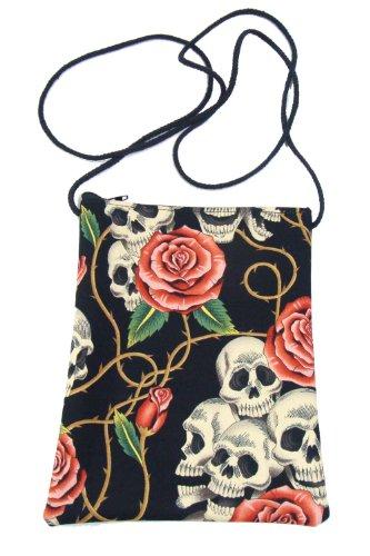 US Handmade Fashion Passport Cover Bag SKULLS PINK ROSES TATTOO Day of the Dead Skulls Rockabilly Halloween Gothic Pattern Shoulder Bag US Handmade Handbag Purse Alexander Henry Fabric, PT 1006]()