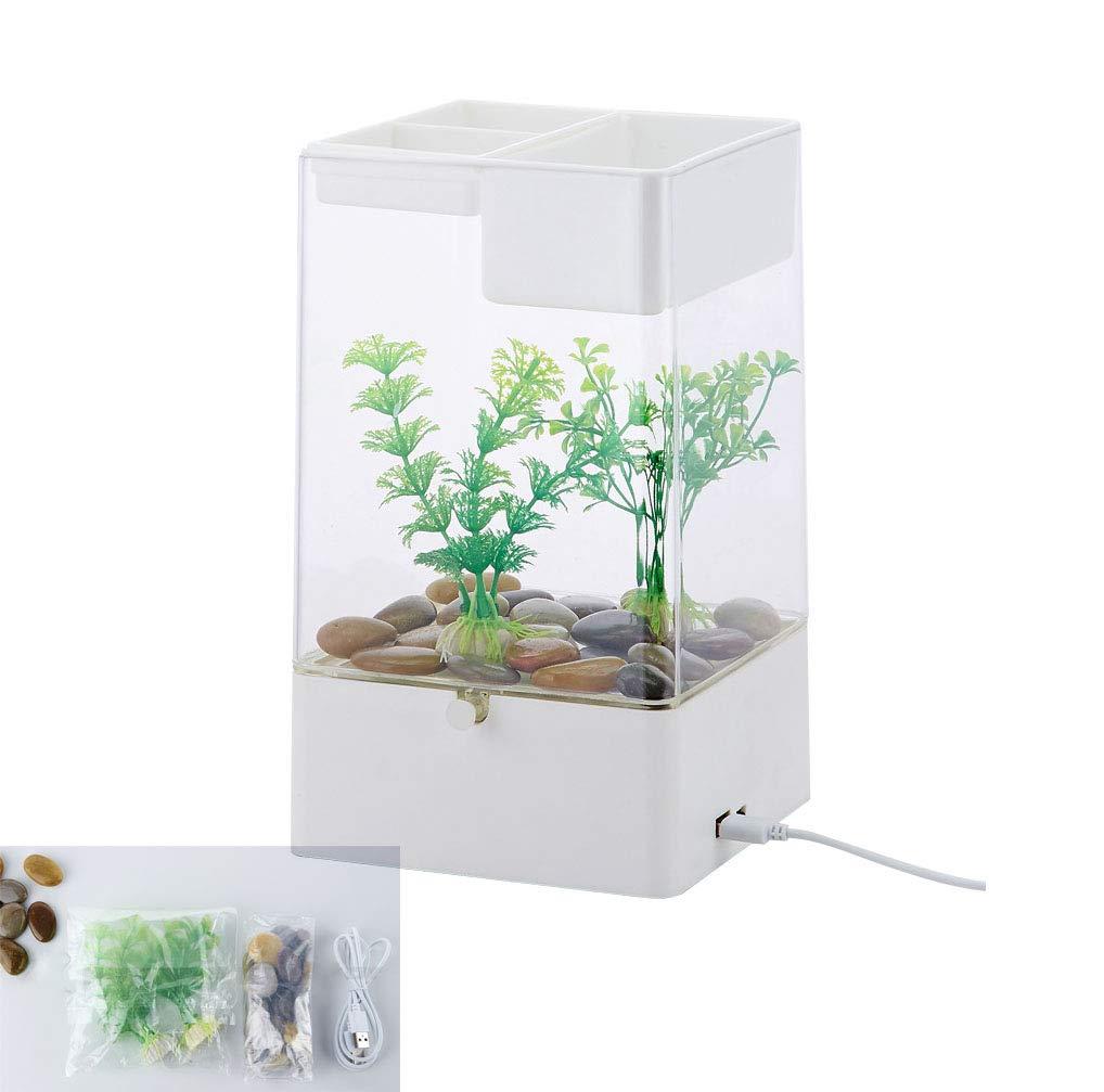 WXJHA Mini Aquarium Desktop Fish Tank,Self-Cleaning Small Acrylic Fish Tank, LED Color Lighting Cube Aquarium Starter Kit with Base,White by WXJHA