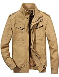 Men's Winter Sherpa Lined Zip-Front Insulated Outerwear Bomber Jacket
