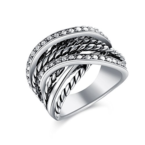 Mytys Vintage Retro Interwined Silver Statement Ring Wide Band Rings for Women Size 9